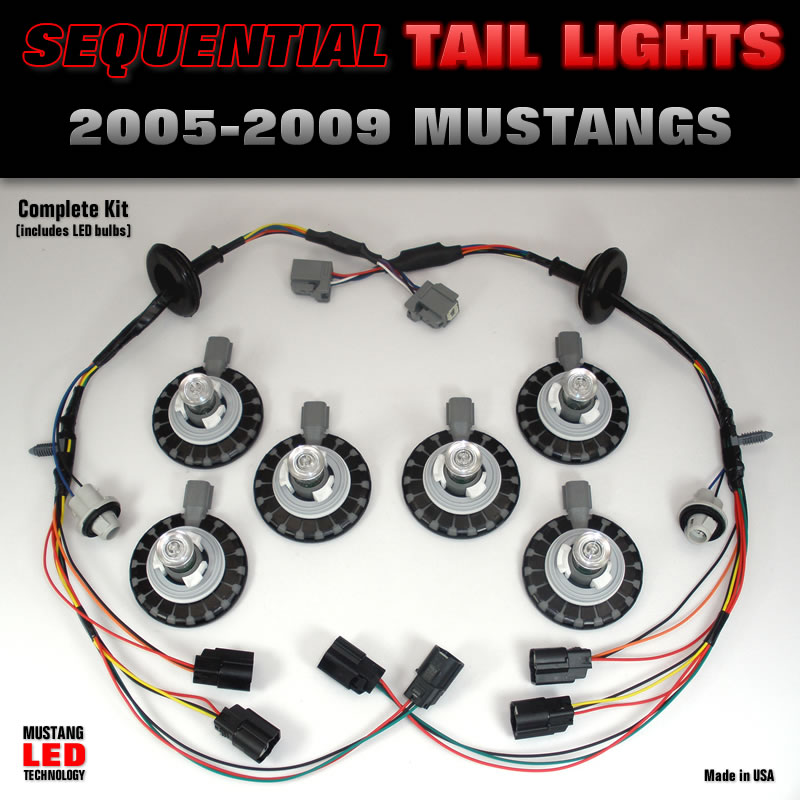 2005-2009 Mustang LED Tail Light complete harness kit
