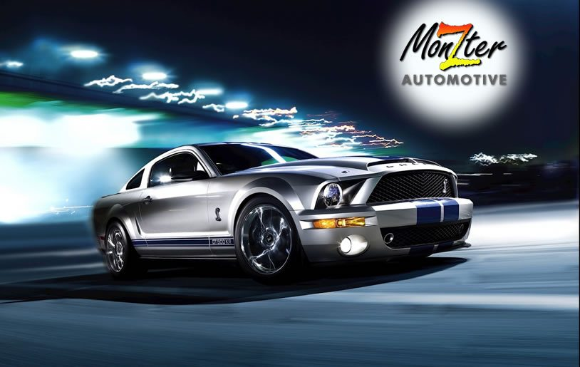 Mustang driving in the moon light